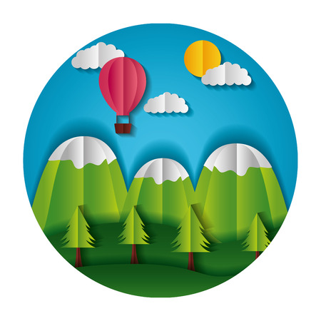 mountains trees and hot air balloon paper origami landscape vector illustration Stock Illustratie
