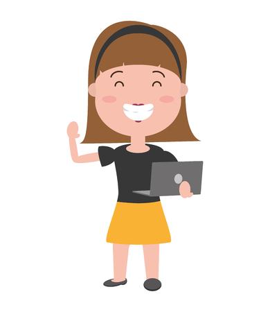 woman using laptop technology device vector illustration