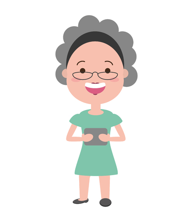 elderly woman with mobile tech device vector illustration