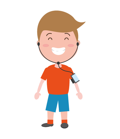 sport boy with wearable tech device vector illustration