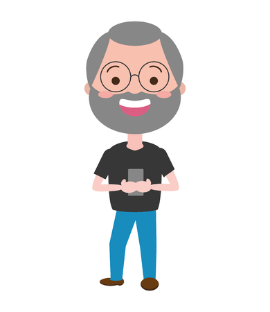 mature man chatting mobile tech device vector illustration