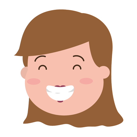 happy woman face on white background vector illustration Banque d'images - 117887349