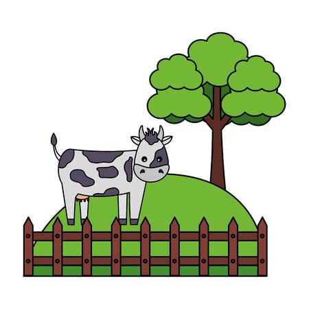 cow fence tree grass farm animal vector illustration