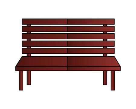wooden bench furniture on white background vector illustration
