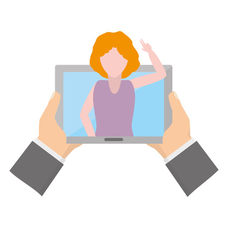 hands with tablet woman video chat tech device vector illustration 向量圖像