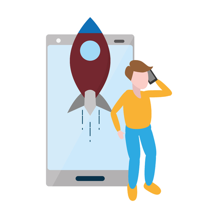 man with mobile rocket tech device vector illustration