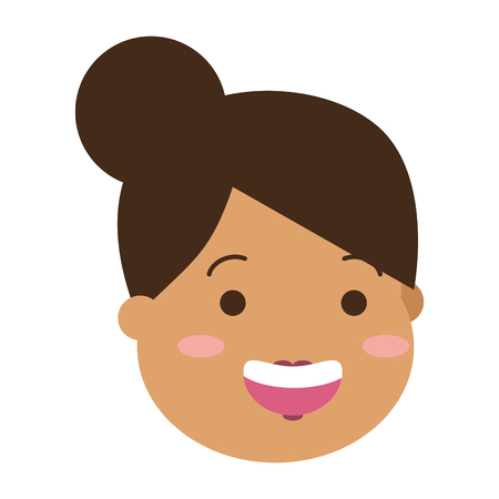 happy woman face on white background vector illustration Banque d'images - 124834652
