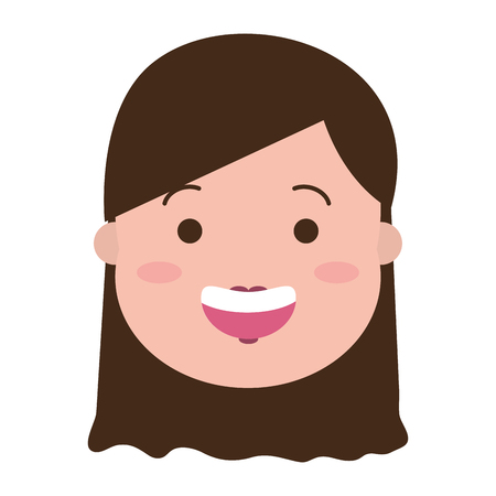 happy woman face on white background vector illustration Banque d'images - 117887848