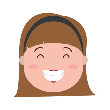 happy woman face on white background vector illustration Banque d'images - 117887849