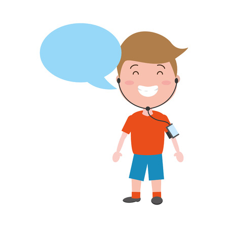 sport boy with wearable tech speech bubble vector illustration Illustration