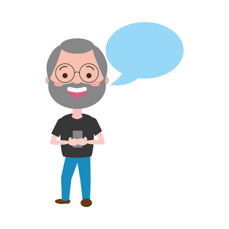 mature man chatting mobile tech speech bubble vector illustration Иллюстрация
