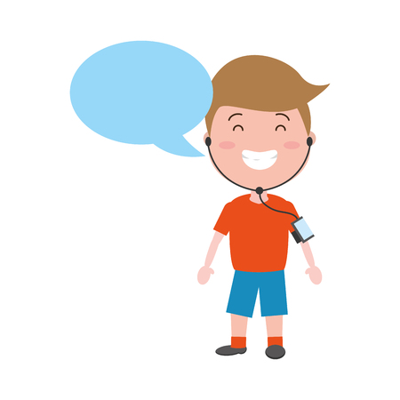 sport boy with wearable tech speech bubble vector illustration Ilustração