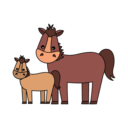 mare and foal cartoon on white background vector illustration Banque d'images - 117887930