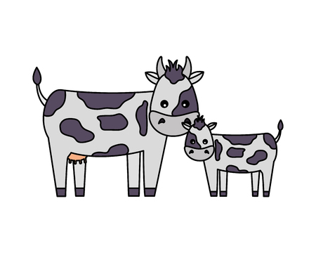 cow and calf on white background vector illustration Stock Vector - 124834663