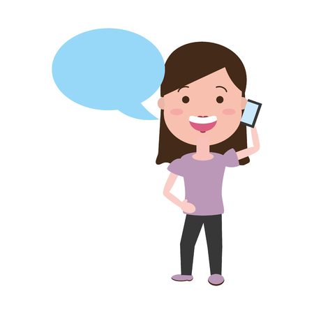woman using mobile call tech speech bubble vector illustration