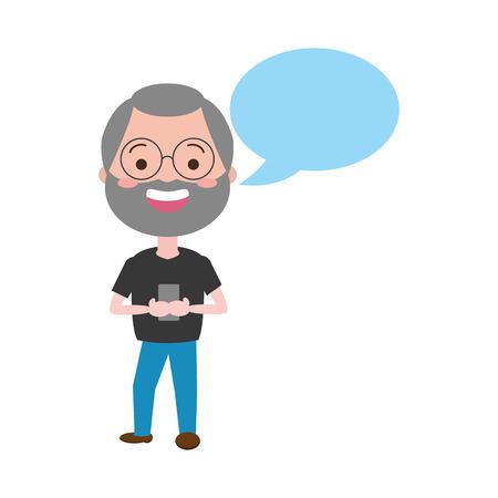 mature man chatting mobile tech speech bubble vector illustration Иллюстрация