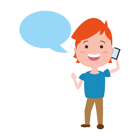 young man calling mobile technology speech bubble vector illustration Illustration