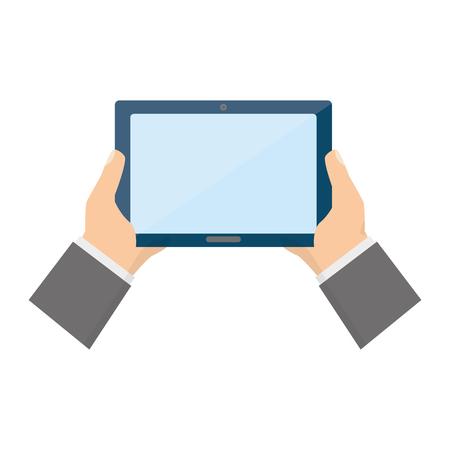 hands holding tablet computer device vector illustration
