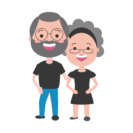cute couple old man and woman vector illustration 스톡 콘텐츠 - 117887612