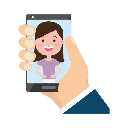 hand with mobile woman on screen tech device vector illustration Banque d'images - 117887969