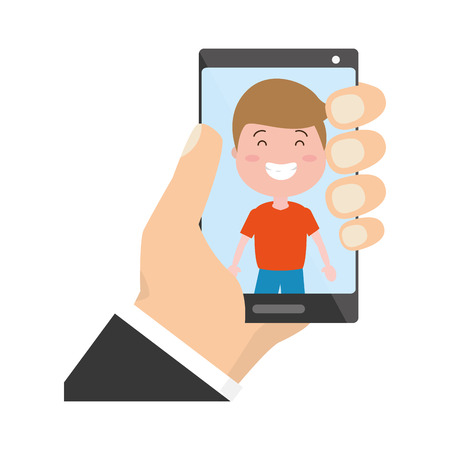 hand with mobile boy on screen tech device vector illustration