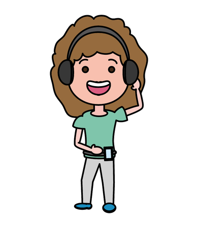 young woman using heaphones and cellphone tech device vector illustration