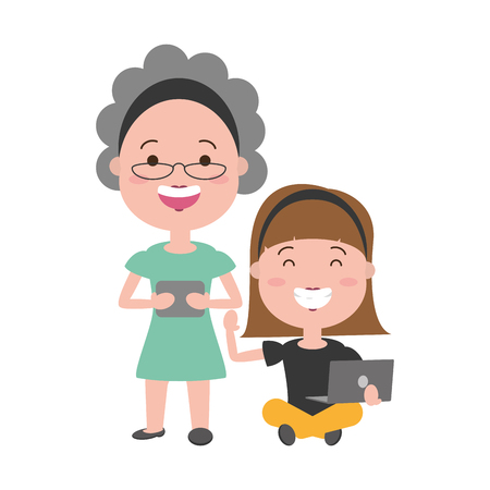 old woman and girl laptop and cellphone tech vector illustration