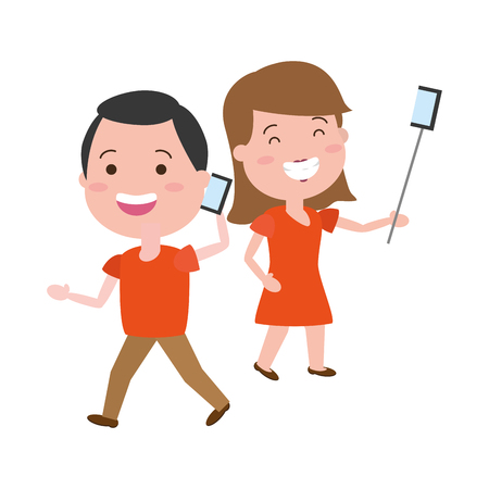 woman taking selfie and man talking mobile tech device vector illustration