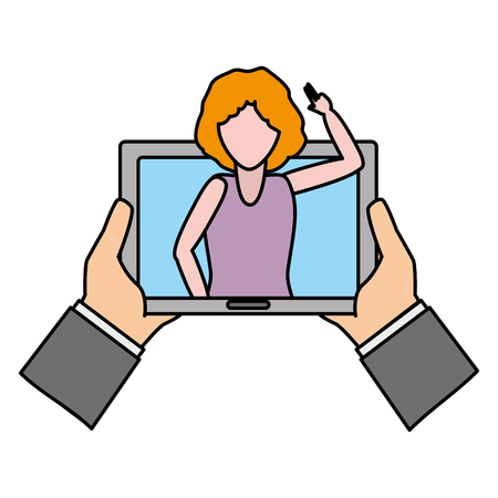 hands with tablet woman video chat tech device vector illustration Illustration