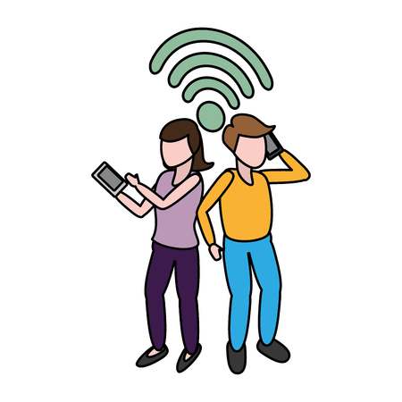 man and woman talking cellphone tech internet vector illustration