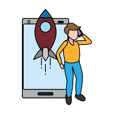 man with mobile rocket tech device vector illustration 스톡 콘텐츠 - 124834681
