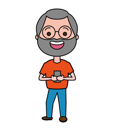 mature man chatting mobile tech device vector illustration Фото со стока - 117914709