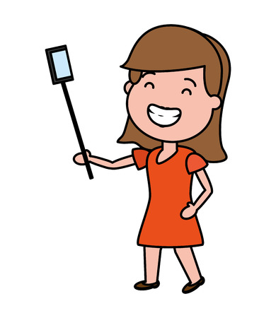 happy woman taking selfie tech device vector illustration Illustration