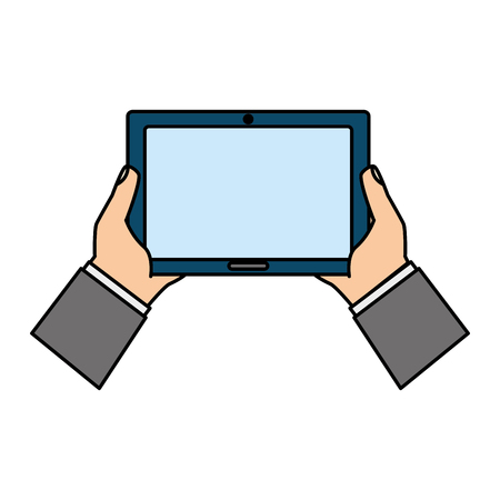 hands holding tablet computer device vector illustration
