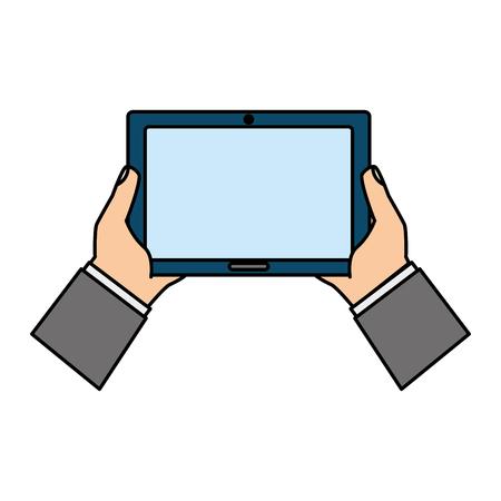 mains tenant tablette ordinateur périphérique vector illustration