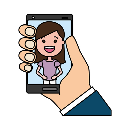 hand with mobile woman on screen tech device vector illustration Banque d'images - 124834706