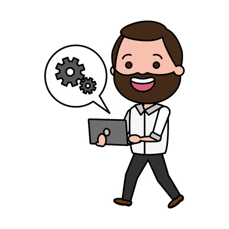 beard man using laptop tech device vector illustration