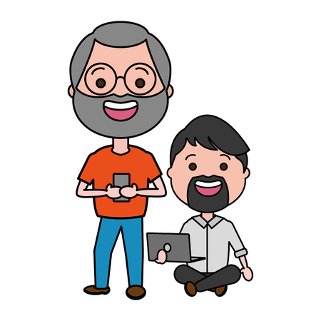 two men with laptop cellphone tech vector illustration