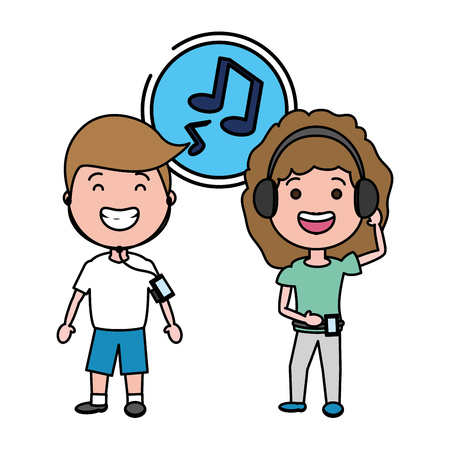 young couple with listening music tech device vector illustration