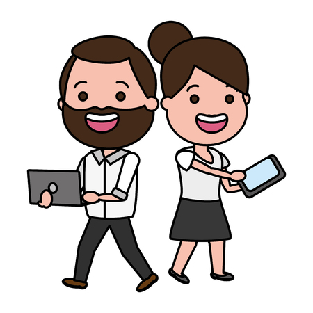 happy couple with laptop and mobile tech device vector illustration Illustration