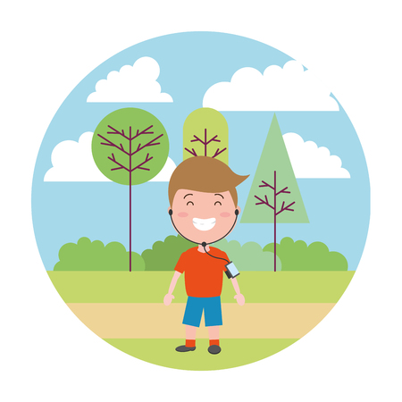sport boy with wearable tech in the park vector illustration vector illustration
