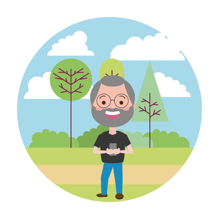 mature man chatting mobile tech in the park vector illustration vector illustration