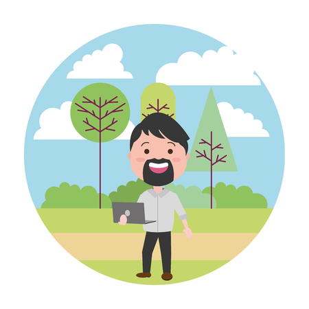 beard man using laptop tech in the park vector illustration vector illustration 일러스트