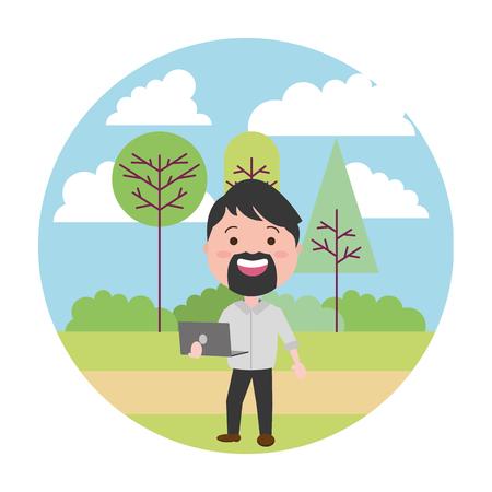 beard man using laptop tech in the park vector illustration vector illustration Illustration