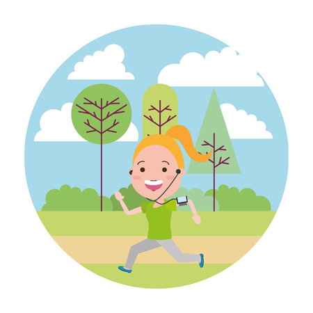 running woman with wearable tech in the park vector illustration vector illustration Illustration