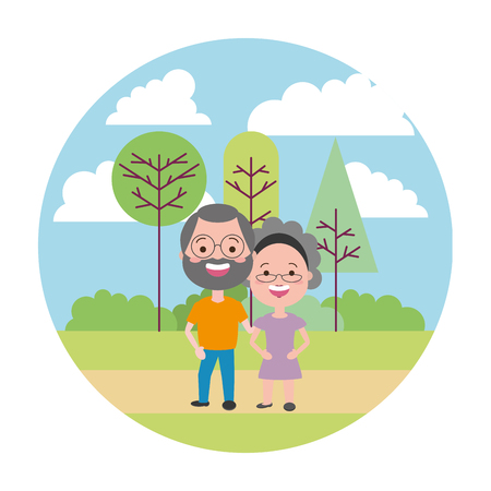 elderly couple in the park vector illustration vector illustration