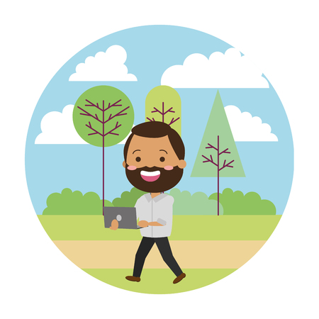 man using laptop tech in the park vector illustration vector illustration