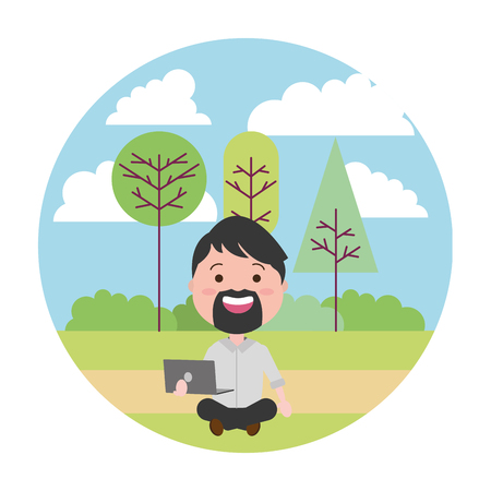 man sitting with laptop tech in the park vector illustration vector illustration