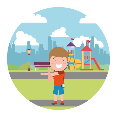 sport guy with earphones in the city playground vector illustration