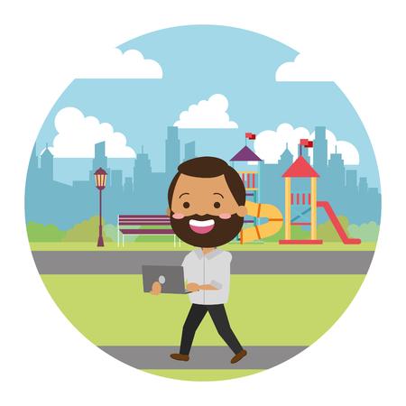beard man using laptop in the city kids playground vector illustration